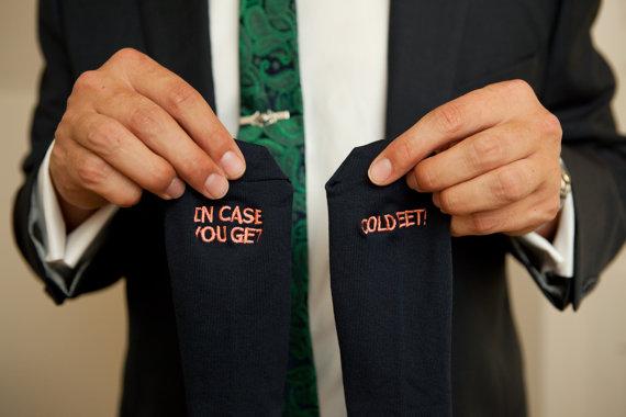 """""""Groom Socks"""" Mens Wedding Socks Gift from the Bride"""
