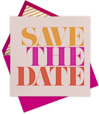 save the date - online wedding & beauty bash- with envelope