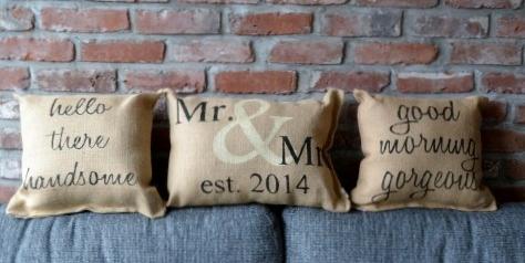 Burlap Heart Strings custom pillows - Mr & Mrs. | Good Morning Gorgeous / Handsome