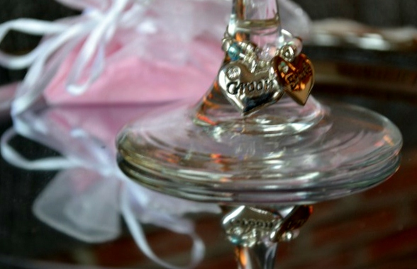 Bride & Groom Wine Glass Charms with Engraved Silver Plated Heart Charm by Angel's Jewels.