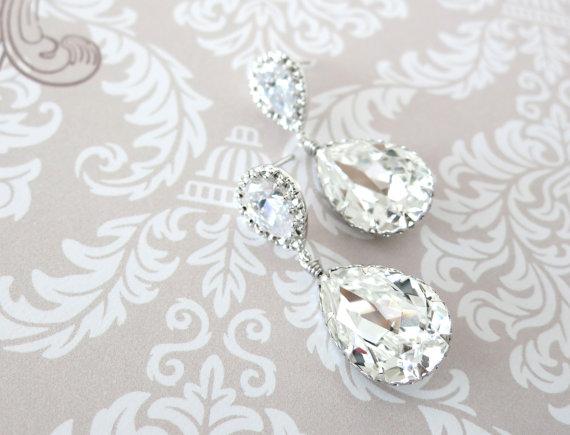 """""""Sandra"""" Swarovski Crystal Teardrop Earrings by Glitz & Love"""