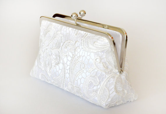 Silk Lace - White on White - Bridal Clutch Handmade by Lolis Creations